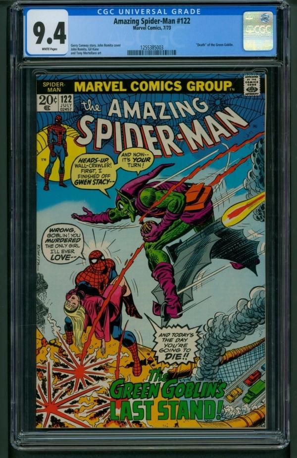 Amazing SpiderMan 122 1973 CGC Graded 94  Death of Green Goblin  Romita