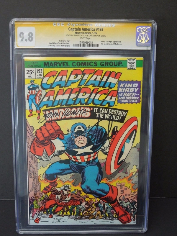CAPTAIN AMERICA 193 1976 CGC 98 SIGNATURE SERIES SS X2 STAN LEE JOHN ROMITA SR