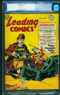 Leading Comics 10 CGC 92 1943 CROWLEY PEDIGREE  DC 0010529007