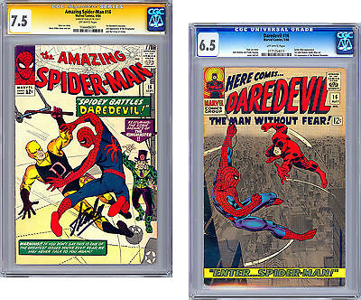 AMAZING SPIDERMAN 16 CGC SS 75  DAREDEVIL 16 CGC 65  XOVERS 19641966