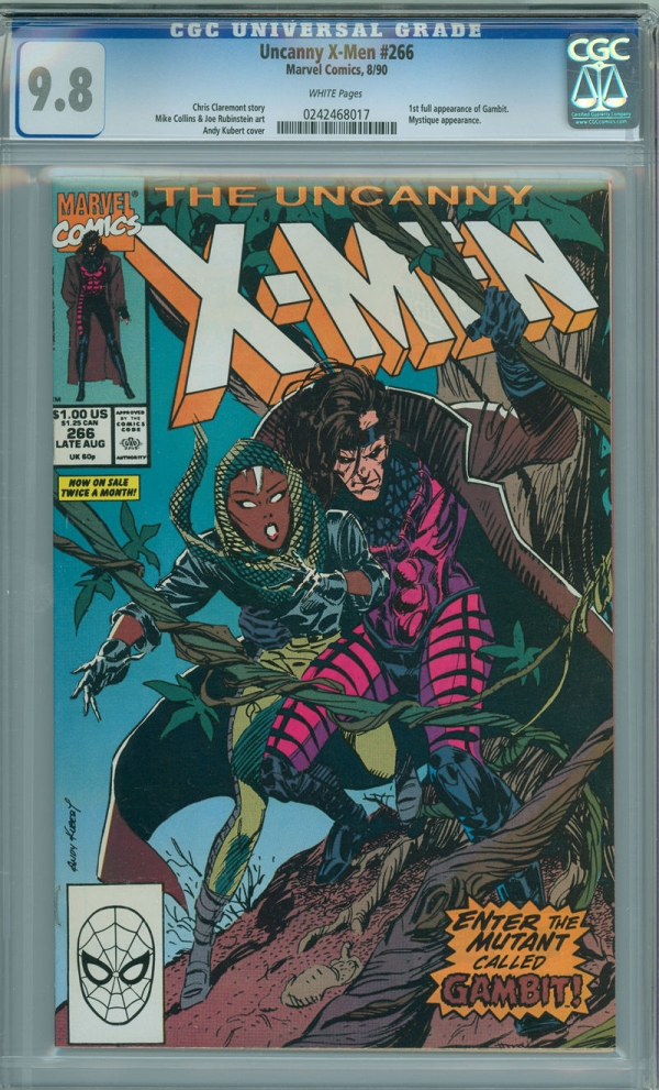 Uncanny Xmen 266 CGC 98 NMM White Pages 1st Appearance of Gambit Marvel 1990