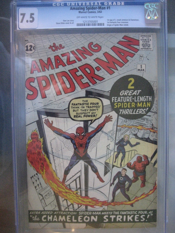 Amazing SpiderMan 1 CGC 75 OWW 1st Fantastic Four Crossover Silver Age