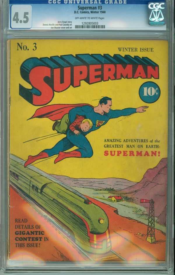 Superman 3 CGC 45 VG OWW DC 1940 Locomotive Cover