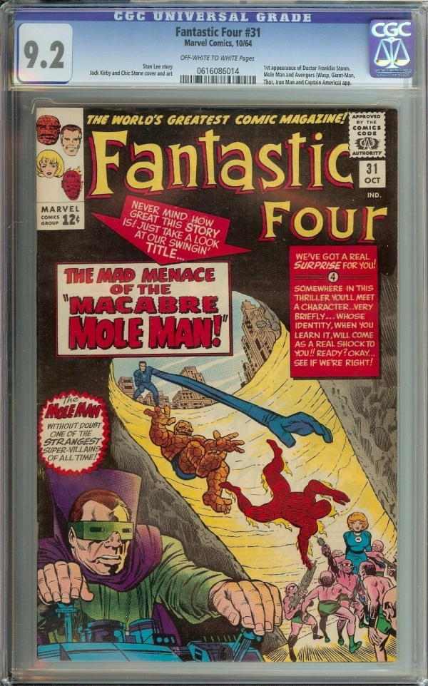 FANTASTIC FOUR 31 CGC 92  1ST APPEARANCE OF DOCTOR FRANKLIN STORM