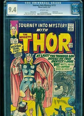 Journey into Mystery 113 CGC 94 OffWhite pgs Feb 1965 Origin of Loki