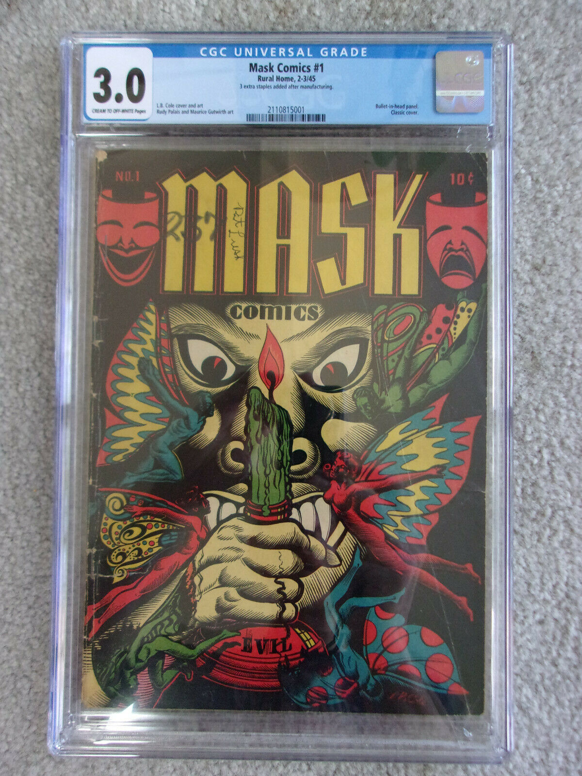 Rare CGC 30 Mask Comics 1 Rural Home 1945 L B Cole Cover PreCode Horror