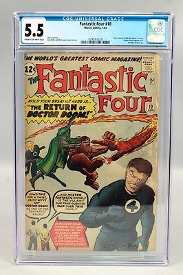 1963 Marvel Comics Fantastic Four 10 CGC Graded 55 incl Stan Lee  Jack Kirby