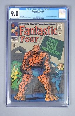 Vintage 1966 Marvel Comics Fantastic Four 51 CGC Graded Silver Age Comic