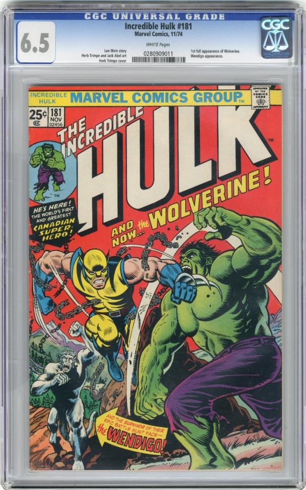 1974 Incredible Hulk 181 CGC 65 1st Wolverine