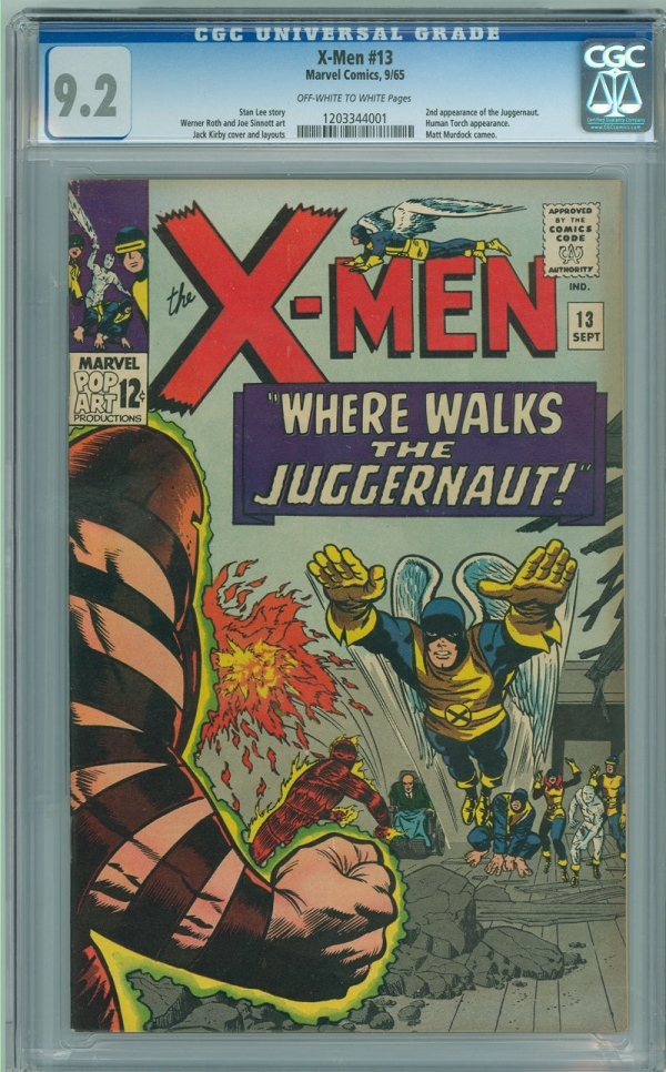 Xmen 13 CGC 92 NM OWW Marvel 1965 2nd App Juggernaut Strictly Graded