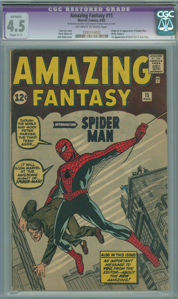 Amazing Fantasy 15 CGC 45 VG C1 Marvel 1962 1st Appearance Spiderman