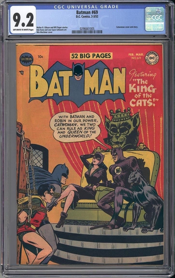 BATMAN 69  CGC NM 92  AMAZING CATWOMAN  CATMAN COVER  VERY RARE  1952