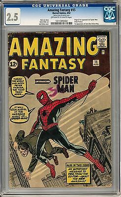 Amazing Fantasy 15 CGC 25 OWW Origin  1st Appearance of SpiderMan