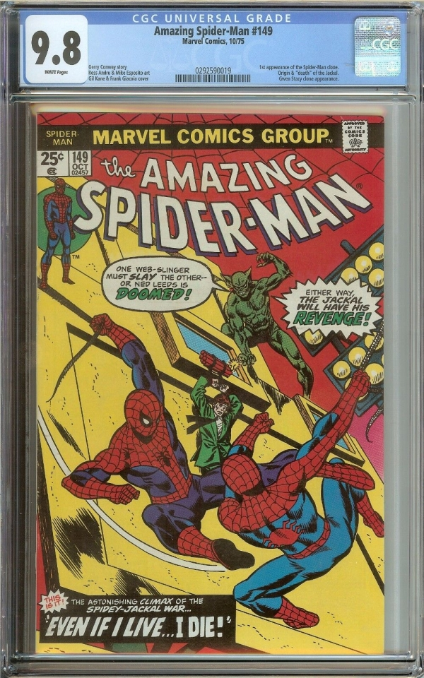 AMAZING SPIDERMAN 149 CGC 98 WHITE PAGES  1ST APPEARANCE OF SPIDERMAN CLONE