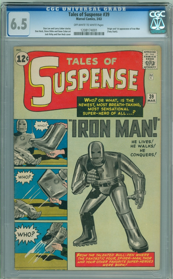 Tales of Suspense 39 CGC 65 FN OWW Marvel 1963 1st Appearance of Iron Man