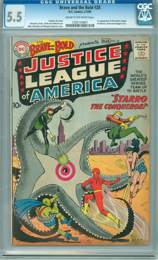 Brave and the Bold 28 CGC 55 FN 1st app Justice League of America DC 1960