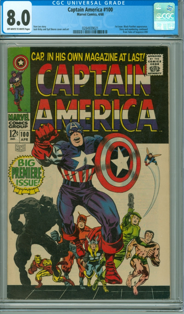 Captain America 100 CGC 80 VF OWW Marvel 1968 1st issue Jack Kirby cover
