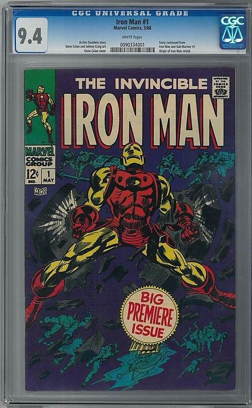 IRON MAN 1 CGC 94 WHITE PAGES 1968 BIG PREMIERE ISSUE AVENGERS