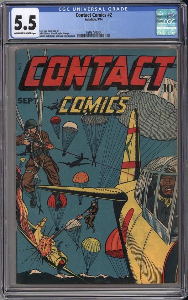 CONTACT COMICS 2  CGC FN 55  FANTASTIC LB COLE WAR COVER  1944  RARE
