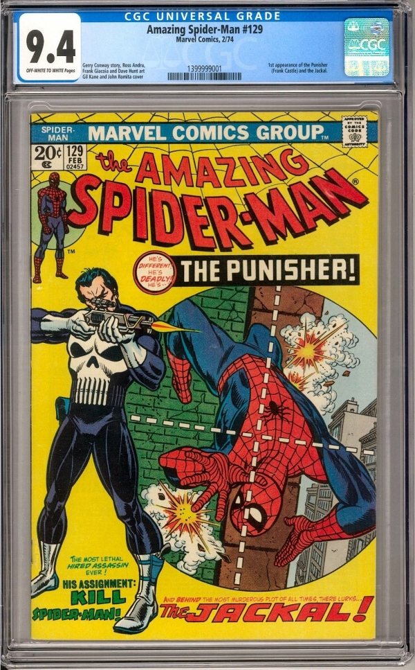 The Amazing SpiderMan 129 CGC 94 OWW 1st Appearance of the Punisher