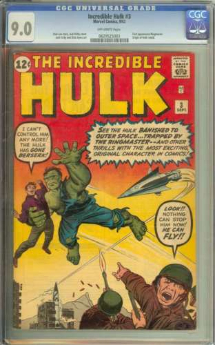 INCREDIBLE HULK 3 CGC 90 OW PAGES
