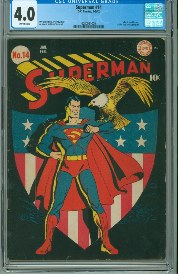 Superman 14 CGC 40 VG DC 1942 Classic Patriotism American Flag Eagle Cover