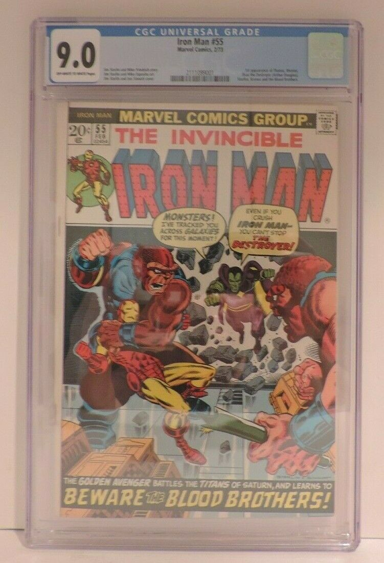 Marvel The Invincible Iron Man 55 Key First Thanos First Drax CGC 90