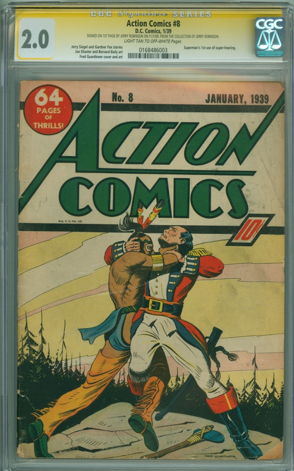 Action Comics 8 CGC 20 SS DC 1939 Early Superman Fred Guardineer cover