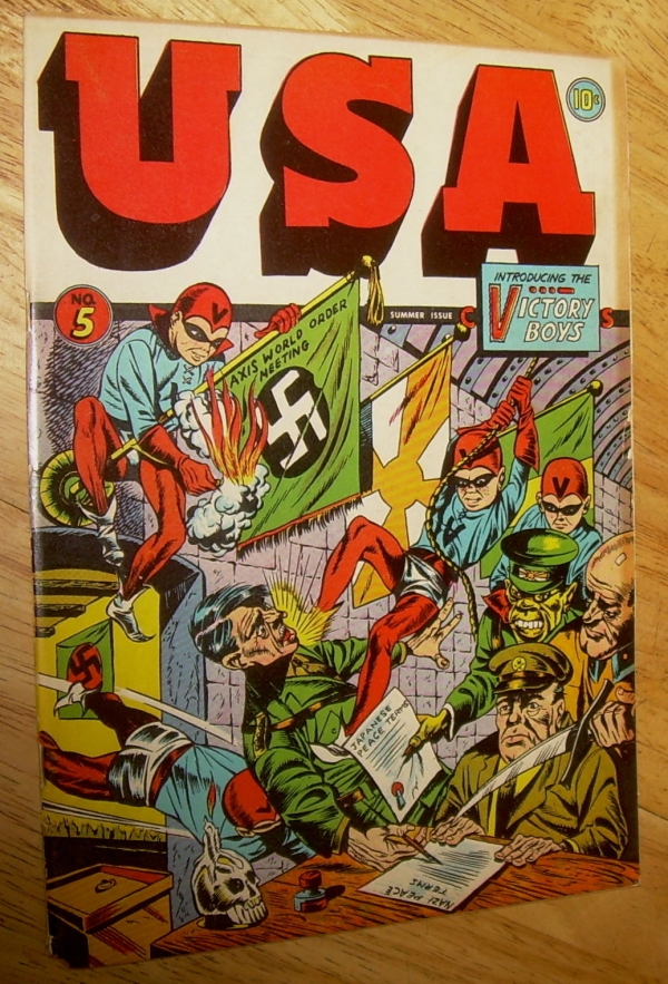 USA Comics 5 scarce TIMELYMarvel WWII HITLERAxis cover CGC graded 60 USA