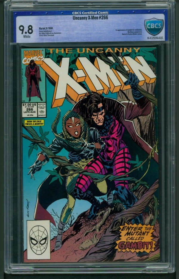 Uncanny XMen 266 1990 CBCS Graded 98  1st Gambit  Andy Kubert  Not CGC