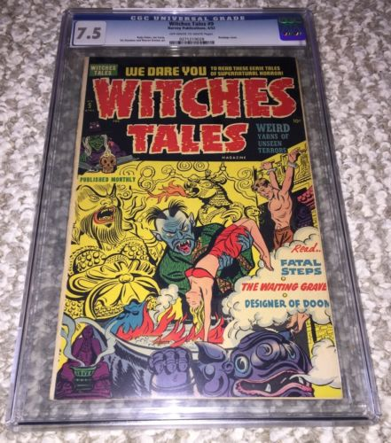 WITCHES TALES 9 CGC 75 OWWP Bestial GGA cover 1952 Harvey PreCode Horror