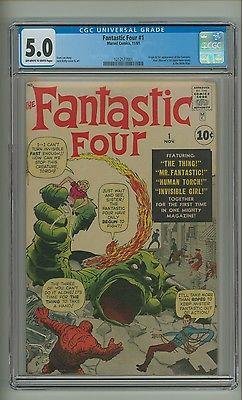 Fantastic Four 1 CGC 50 OWW pgs Origin1st app FF Kirby 1961 c09490