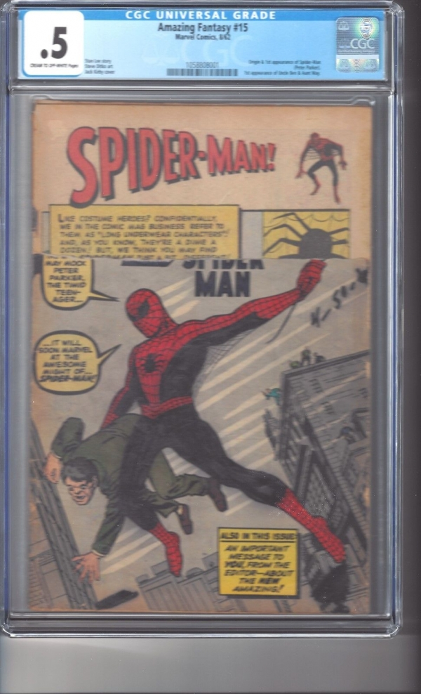 Amazing Fantasy 15 CGC 05 COW Pages 1st Appearance SpiderMan 34 Cover