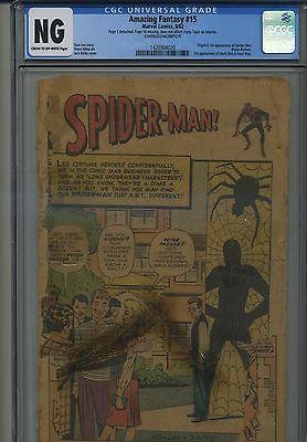 Amazing Fantasy 15 Origin SpiderMan CGC 05 Coverless