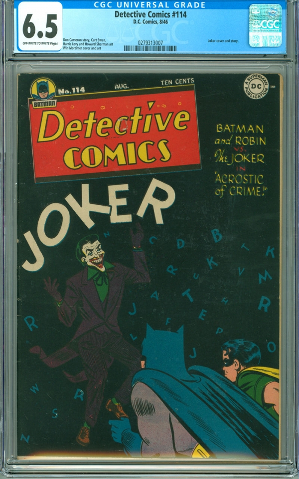Detective Comics 114 CGC 65 FN OWW DC 1946 Batman Joker Cover  Story