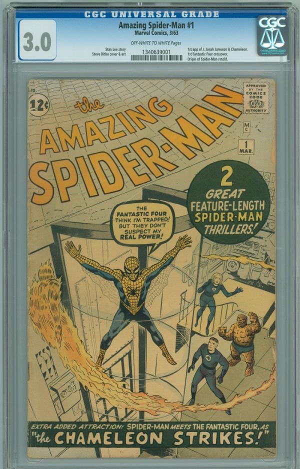 Amazing SpiderMan 1 CGC 30 GVG OWW Marvel 1963 Origin First Issue