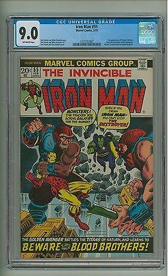 Iron Man 55 CGC 90 OW pgs 1st app Thanos Drax Starfox Mentor c12855