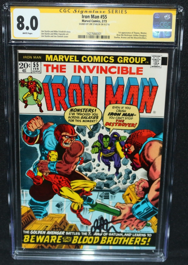 Iron Man 55  1st App of Thanos  Jim Starlin  CGC Signature Series 80  1973