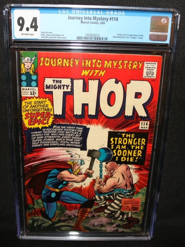 Journey Into Mystery 114  Thor  Origin  1st App Absorbing Man CGC 94  1965