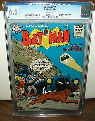 Batman 92 CGC 65 White pgs Origin1st app Ace the BatHound 1955 c04254