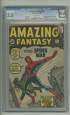 Amazing Fantasy 15 CGC 30 OW p Origin1st app SpiderMan Ditko c09489
