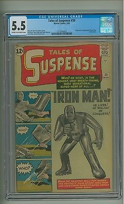 Tales of Suspense 39 CGC 55 COW p Origin1st app Iron Man Kirby c12061