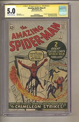 Amazing SpiderMan 1 CGC 50 OWW p SIGNED by Stan Lee Ditko 1963 c27933