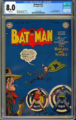 Batman 51 High Grade Original Owner Golden Age DC Comic 1949 CGC 80