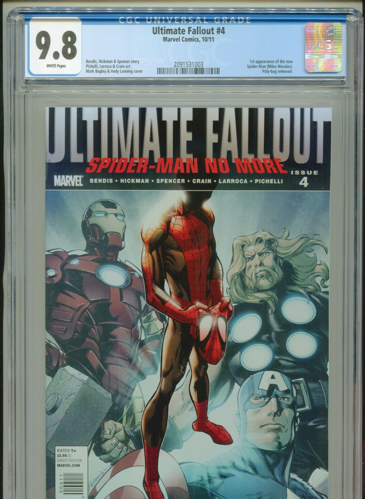 2011 MARVEL ULTIMATE FALLOUT 4 1ST APPEARANCE MILES MORALES CGC 98 WHITE BOX9