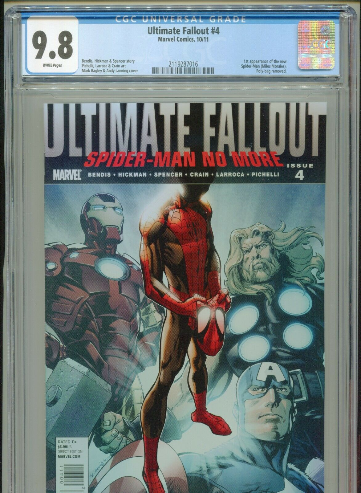 2011 MARVEL ULTIMATE FALLOUT 4 1ST APPEARANCE MILES MORALES CGC 98 WHITE BOX6