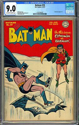 Batman 39 High Grade Original Owner Golden Age DC Comic 1947 CGC 90