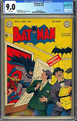 Batman 53 High Grade Original Owner Joker Golden Age DC Comic 1949 CGC 90