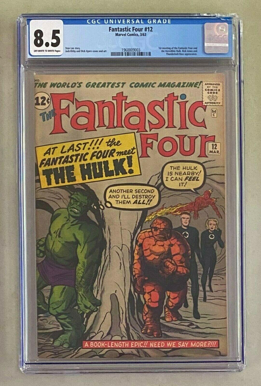 FANTASTIC 4 FOUR 12 Marvel Comics 1963 CGC 85 First Meeting Incredible Hulk