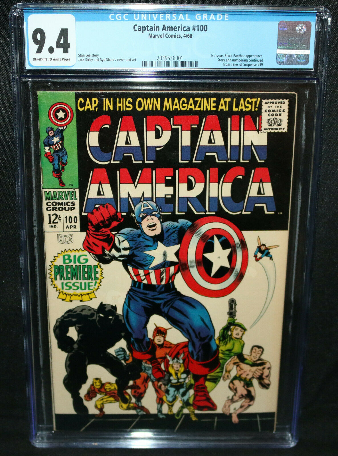 Captain America 100  1st Issue  Black Panther App  CGC Grade 94  1968